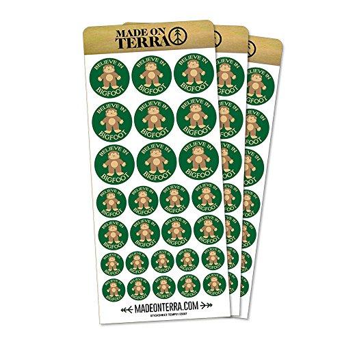 Believe In Bigfoot Sasquatch Removable Matte Sticker Sheets Set - Bigfoot Party Supplies