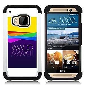 - apple purple yellow waves technology/ H??brido 3in1 Deluxe Impreso duro Soft Alto Impacto caja de la armadura Defender - SHIMIN CAO - For HTC ONE M9