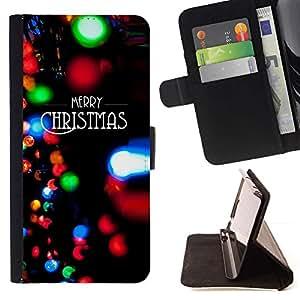 Momo Phone Case / Flip Funda de Cuero Case Cover - Luces de Navidad Negro Invierno de Navidad - Samsung Galaxy J3 GSM-J300