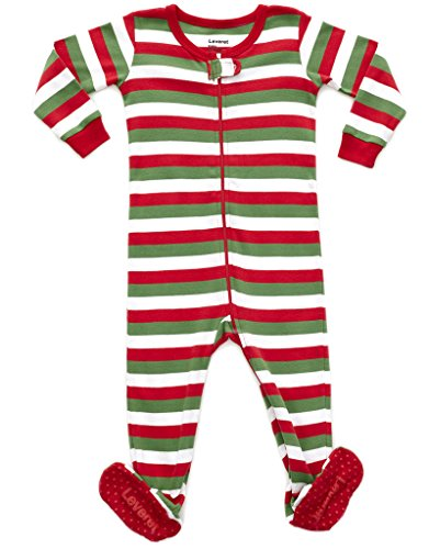 Red White & Green Striped Footed Pajama 6-12 Months