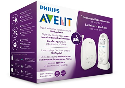 517Igwqzm3L Philips Avent Dect Audio Baby Monitor SCD720/86    DECT technology provides a reliable, private connection to your baby, without interference. Complete reassurance thanks to its crystal clear sound and variety of features. Calm your baby with the comforting night light, and lullabies. Talk-back feature, to talk to your baby remotely. Monitor the temperature in your baby's room on the parent unit display. Night time friendly mode dims display and sound. Energy saving Smart ECO mode for minimal transmission. Range up to 1000 feet outside, and up to 160 feet inside. Excellent 18 hr operating time for overnight monitoring. Convenient docking station for charging.