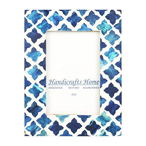 Handicrafts Home 4x6 Photo Frame Blue White Bone Mosaic Moroccan Picture Frames -