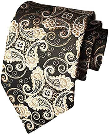 MENDENG Black With Gold Paisley Woven Necktie Men's Wedding Party Tie Necktie