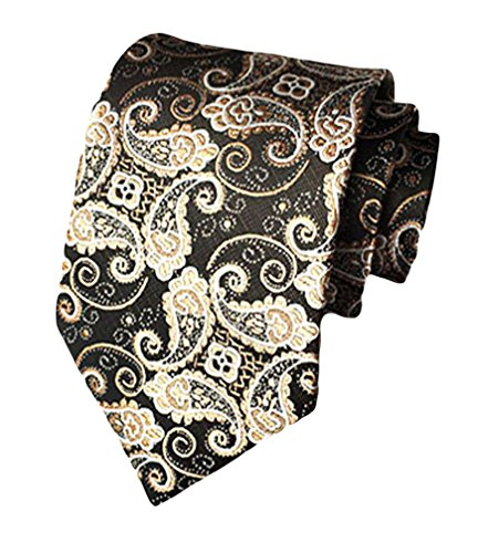 MENDENG Black With Gold Paisley Woven Necktie Men's Wedding Party Tie Necktie