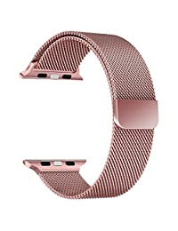Apple Watch Band Series 1 Series 2 Series 3, FanTEK Milanese Loop Stainless Steel Bracelet Smart Watch Replacement Strap for iWatch 38mm All Models with Powerful Unique Magnet Lock Clasp (Rose Gold)