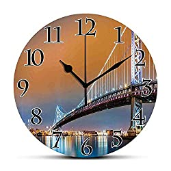 Silent Wall Clock,Apartment Decor,Ben Franklin Bridge and Philadelphia Skyline Viewed from Camden Across The Delaware River Decorative Non Ticking Wall Clock/Desk Clock for Office Home Decor 9.5 inch