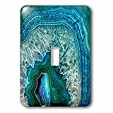 3dRose (lsp_266902_1) Single Toggle Switch (1) Luxury Aqua Blue Marble Agate Gem Mineral Stone