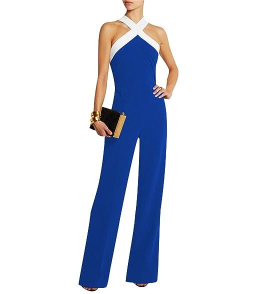 b38839a0b3d72b Damen Schwarz Festlich Elegant Rot Jumpsuit Gürtel Ärmellos breit Bein  Overall Catsuit Clubwear Kleidung  Amazon.de  Bekleidung