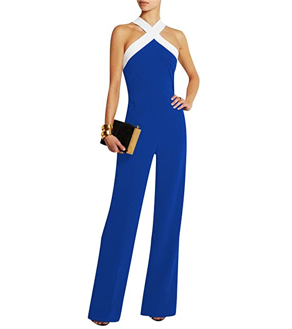 ISSHE Mujer Fiesta Monos Vestir Sin Mangas Color Bloque Ladies Jumpsuits para Mujer Going out