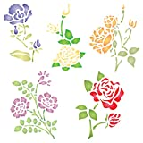 Rose Set Stencil - 26.5 x 26.5cm (L) - Reusable Flowers Flora Plants Wall Stencil Template