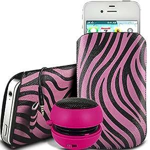 Direct-2-Your-Door - HTC Desire 820 protección PU Zebra Diseño deslizamiento cordón tirador de la cremallera en la caja de la bolsa con cierre rápido y 3.5mm Mini altavoz recargable - Rosa