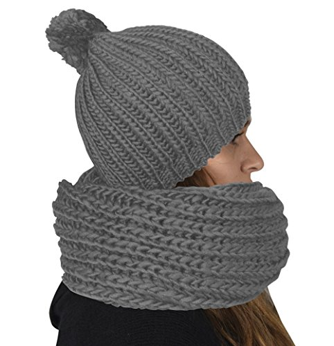 Peach Couture Chunky Knit 2 Pair Faux Fur Beanie Hat and Infinity Loop Scarf Set Smokey Silver