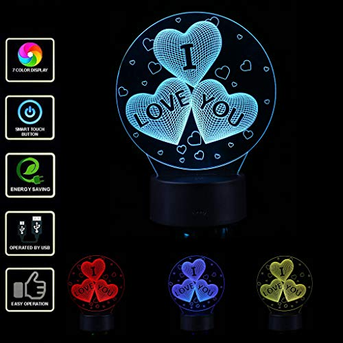 LED 3D Illuminated Lamp Optical Illusion Desk Night Light with 7 Color Changing