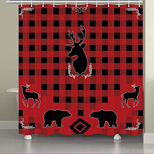 JAWO Rustic Cabin Theme Shower Curtain for Bathroom,American Farmhouse Lodge Traditional Buffalo Check Pattern with Wild Animals Deer Bear Red Black Fabric Bathroom Curtain with Shower Curtain Hooks