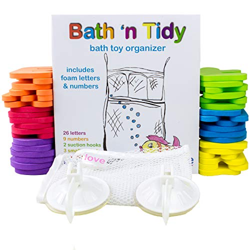 Bath Little Tikes (Bath Toy Organizer with 36 Foam Letters & Numbers, for Toddler BATH TIME FUN. Mold Resistant MESH ORGANIZER + Locking Hooks, Makes Clean Up Easy as They Drip Dry in the Tub)