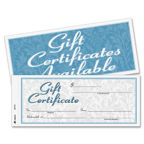 Adams Gift Certificate Book, Carbonless, Single Paper, 3.4 x 8 Inches, White, 2-Part, 25 Numbered Certificates Plus Store Sign (Massage Gift Certificates)