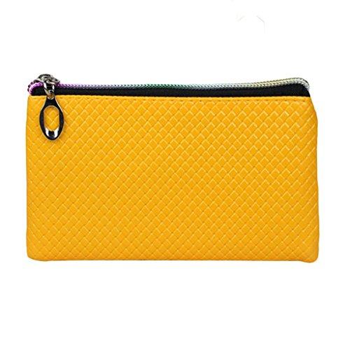 HuntGold 1 X Frauen PU-lederne Handtasche Reißverschluss Handtasche Lange Geldbörse Brieftasche (gelb)