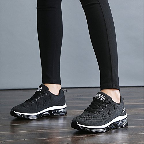 JEDVOO Womens White Mens Walk Shoes Sneakers Fashion Running Outdoor Athletic Shoes Black Mesh Sports Gym Trainers qwq46