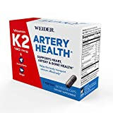 Weider Artery Health Formula with 180mcg of Vitamin K2 MK7 Aronia Berry & Ginger Root - Keto Friendly - Supports Arterial Flexibility & Healthy Blood Flow - Two Month Supply (60 Caps)