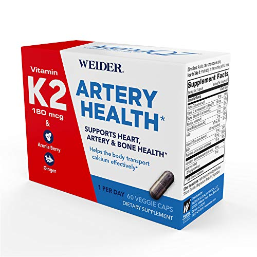 Weider Artery Health Formula with 180mcg of Vitamin K2 MK7 Aronia Berry & Ginger Root - Keto Friendly - Supports Arterial Flexibility & Healthy Blood Flow - Two Month Supply ()