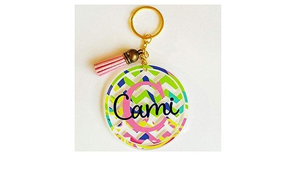 Fancy Design Acrylic Keychain Personalized Monograma Choose your Design Custom