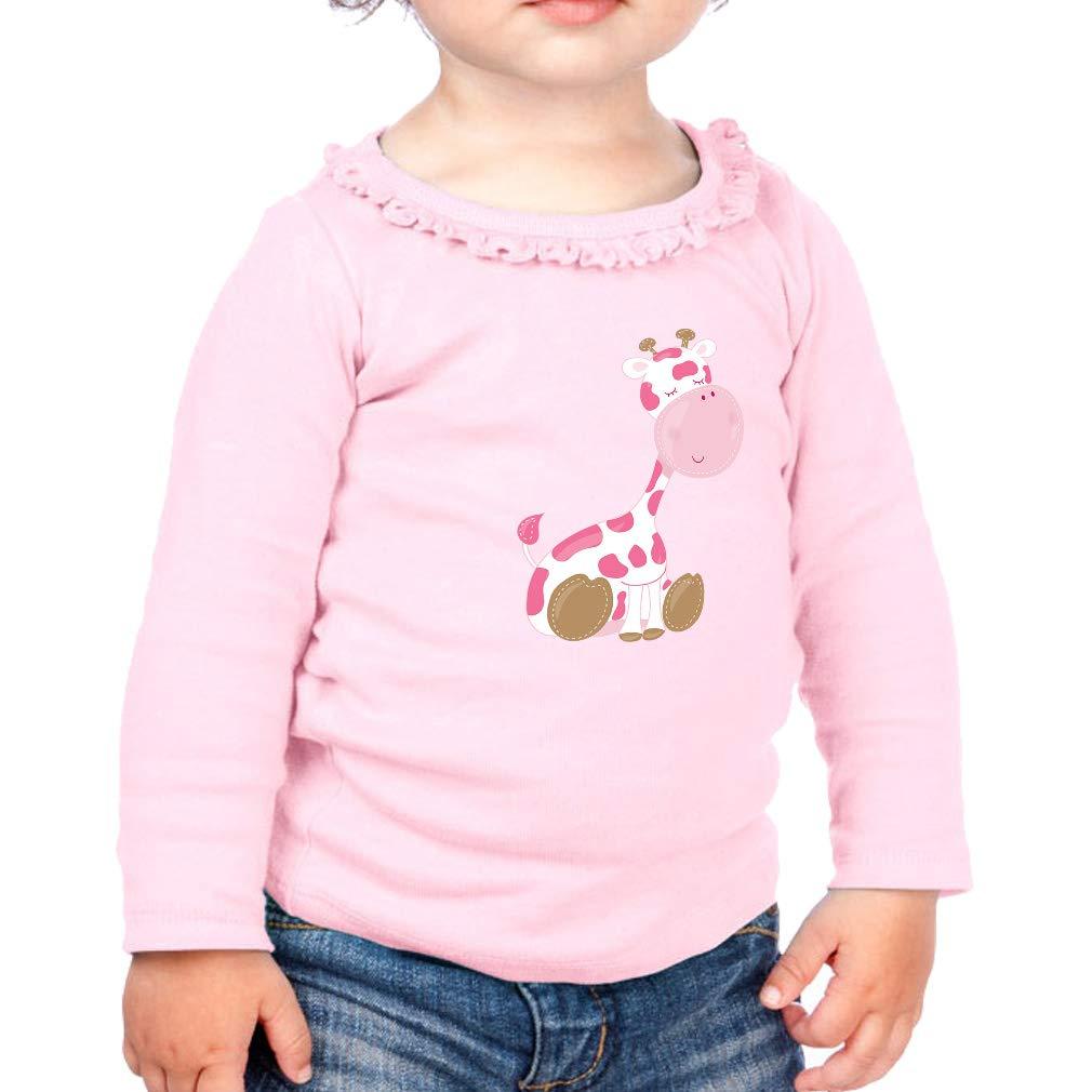 Baby Giraffe Pink Cotton Girl Toddler Long Sleeve Ruffle Shirt Top Sunflower