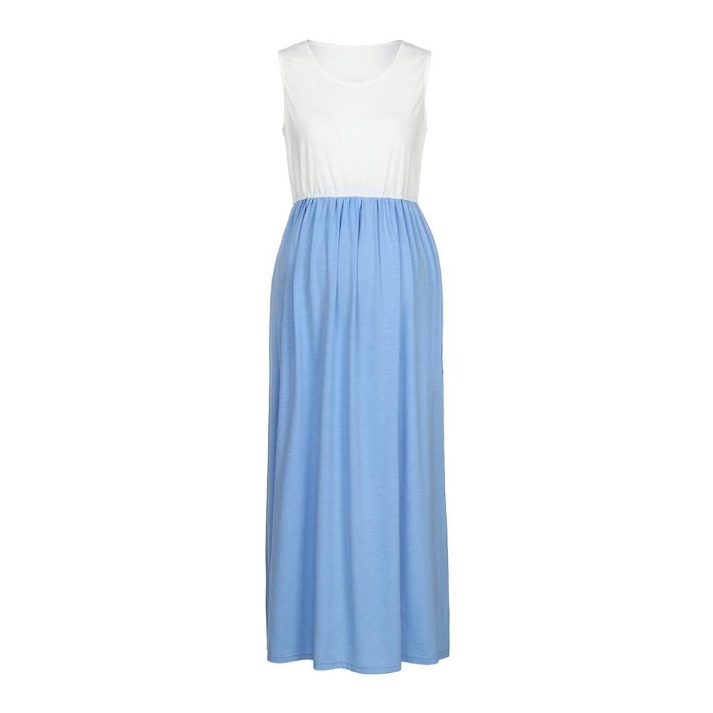 Amazon.com: Women Pregnant Dress,Summer Sleeveless Maternity Ruched Mother Sundress Axchongery (Blue, M): Arts, Crafts & Sewing
