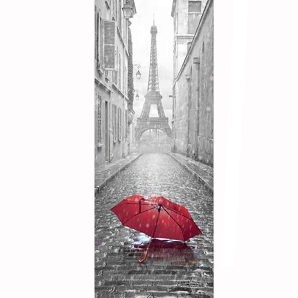 200 cm lightszone 3D Porte Autocollant DIY Peint Imitation Paris Eiffel Tour /Étanche Auto-adh/ésif Porte Autocollants Chambre Home Decor PVC Papier Peint 77