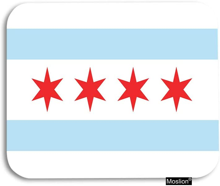 Moslion Flag Mouse Pad Flag of Chicago USA City with Red Hexagram Stars White Blue Stripes Gaming Mouse Pad Rubber Large Mousepad for Computer Desk Laptop Office Work 7.9x9.5 Inch