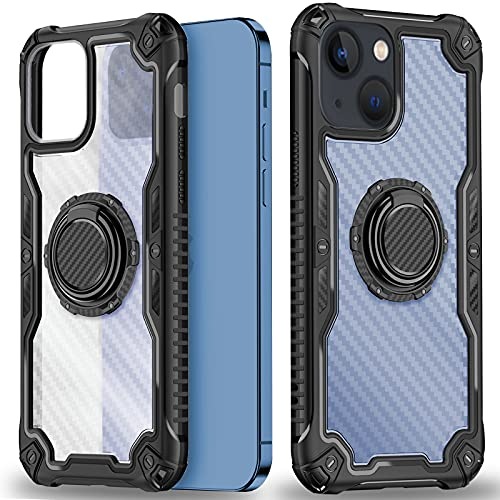 HAMGEEN for iPhone 13 Case Kickstand Anti-Scratch Anti-Fingerprint Heavy Duty Armor Shockproof Protective Slim Cover with Metal Ring Kickstand Phone Case Compatible with iPhone 13 6.1inches Black