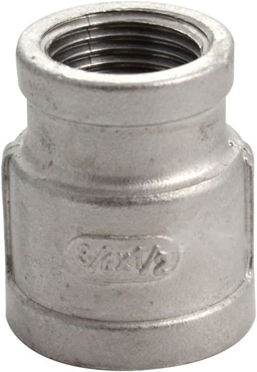Megairon 1//2 x 1//4 Reducing Coupling,Stainless Steel 304 NPT Female Threaded Cast Pipe Fitting,Nipple