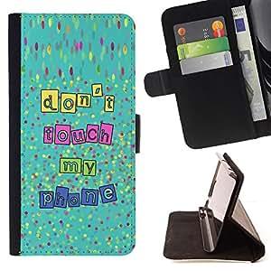 MY PHONE HANDS DON'T TOUCH OFF TEXT/ Personalizada del estilo del dise???¡Ào de la PU Caso de encargo del cuero del tir????n del soporte d - Cao - For LG Nexus 5 D820 D821