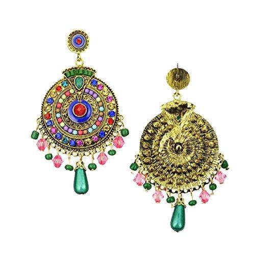 Voberry 1 Pair Fashion Women Ladies Earrings Bohemia Style Hollow Earring Stud (Blue 3)