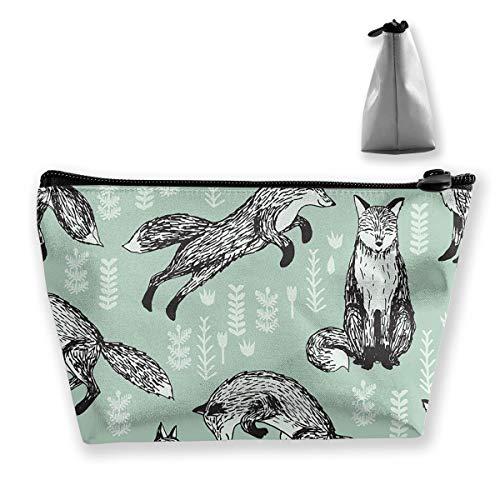Makeup Bag Trapezoidal Storage Bag Fox Leaves Animal Portable Cosmetic Bag Ladies Mobile Travel -