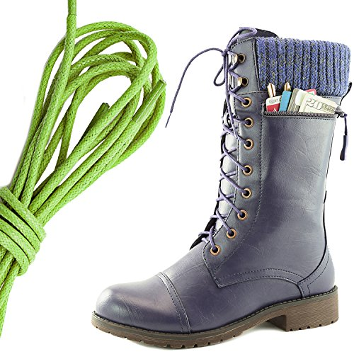 Dailyshoes Womens Combat Stijl Lace Up Enkellaarsje Ronde Teen Militaire Knit Creditcard Mes Geld Portemonnee Pocket Laarzen, Lime Groen Paars Pu