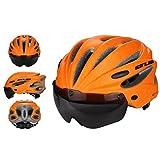 GUB K80 [ Magnet Goggles Integrated Helmet ] Mountain Bike ride Helmet [ EPS Wear Glasse Helmet ] (Orange)