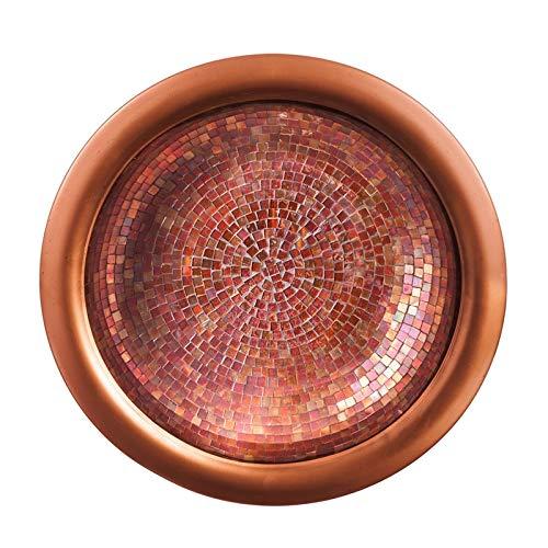 Evergreen Garden Copper Tile Metal Bird Bath Bowl