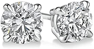 PARIKHS Round Diamond Pendant /& Stud Set Promo Quality in White Gold 0.10 ctw, I3 clarity