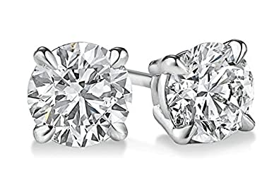 PARIKHS Round Diamond stud Prime Quality in 14K White Gold 0.09 ctw, I1 clarity