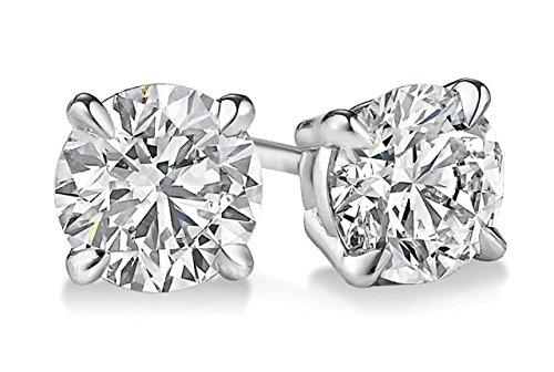 PARIKHS Round Diamond stud Promo Quality in 14k White Gold (0.25 ctw, (0.125 Ct Round Diamond)