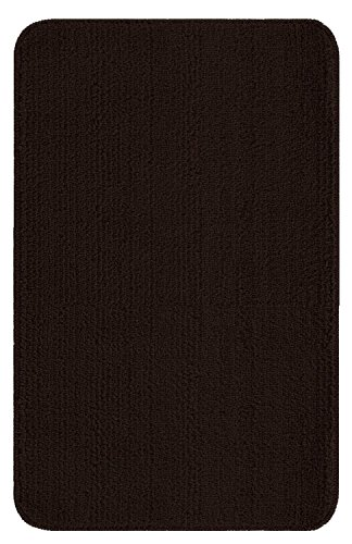 """Ottomanson Softy Collection Color Solid (Machine-Washable/Non-Slip) Kitchen/Bathroom Mat Rug, Brown, 2'2"""" x 6'"""