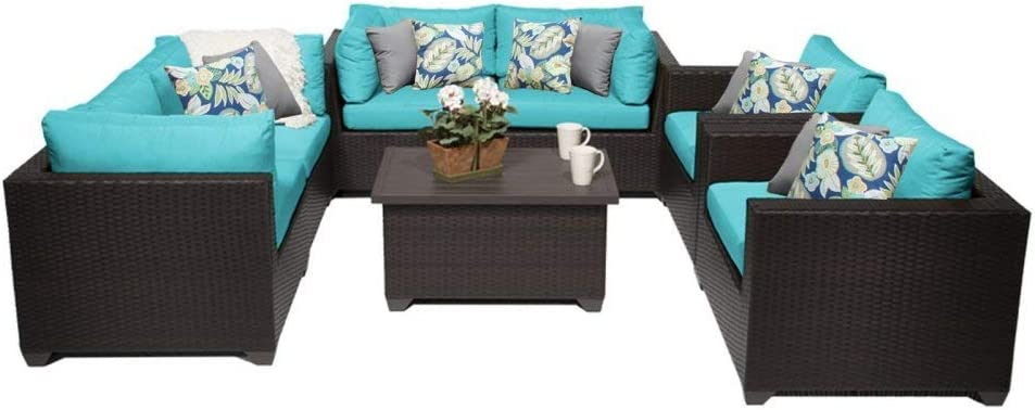 TK Classics 7 Piece Belle Outdoor Wicker Patio Furniture Set, Aruba 07c