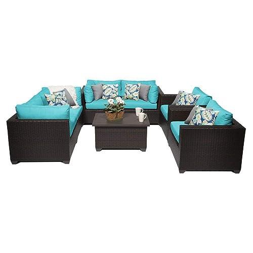 TK Classics 7 Piece Belle Outdoor Wicker Patio Furniture Set, Aruba 07c
