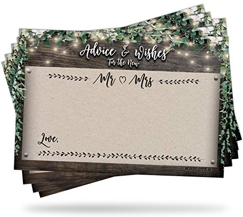 50 Rustic Wedding Advice Cards - Well Wishes for Bride and Groom - Perfect for Guest Book Alternatives, Bridal Shower Games, Wedding Decorations for Reception, Marriage Advice for the Mr and Mrs ()