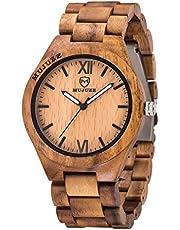 MUJUZE Holzuhr Herren Damen Holzuhren für Herren Analoge Quarz Holz Armbanduhren mit Sandelholz Band und Leuchtendem Zeiger