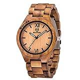 Watch for Men, ShiLiTech Mens Wooden Watch Analog Quartz Lightweight Handmade Wood Wrist Watch Men(Acacia Wood)