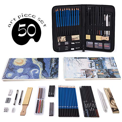 (Professional Art Set 50 PCS Drawing and Sketching Set- Drawing, Sketching and Charcoal Pencils. 2 x 50 Page Drawing Pad!Kneaded Eraser Included. Art Kit for Kids, Teens and)
