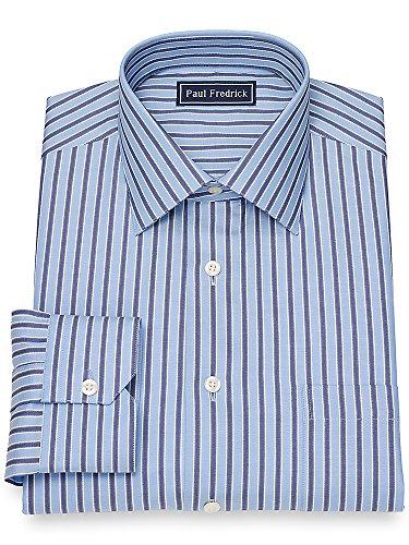 Paul Fredrick Men's Cotton Twill Stripe Dress Shirt Blue 17.0/35