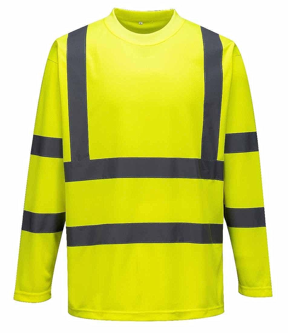 Portwest S178 reflectante camiseta de trabajo alta visibilidad polié ster de manga larga rayas
