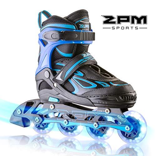 2PM SPORTS Vinal Boys Adjustable Flashing Inline Skates, All Wheels Light Up, Fun Illuminating Skates for Kids and Youths - Azure L